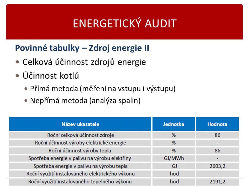 Karásek 2014 ENERGETICKÝ AUDIT Povinné tabulky – Zdroj energie II Celková účinnost zdrojů energie Účinnost kotlů Přímá metoda (měření na vstupu i výst