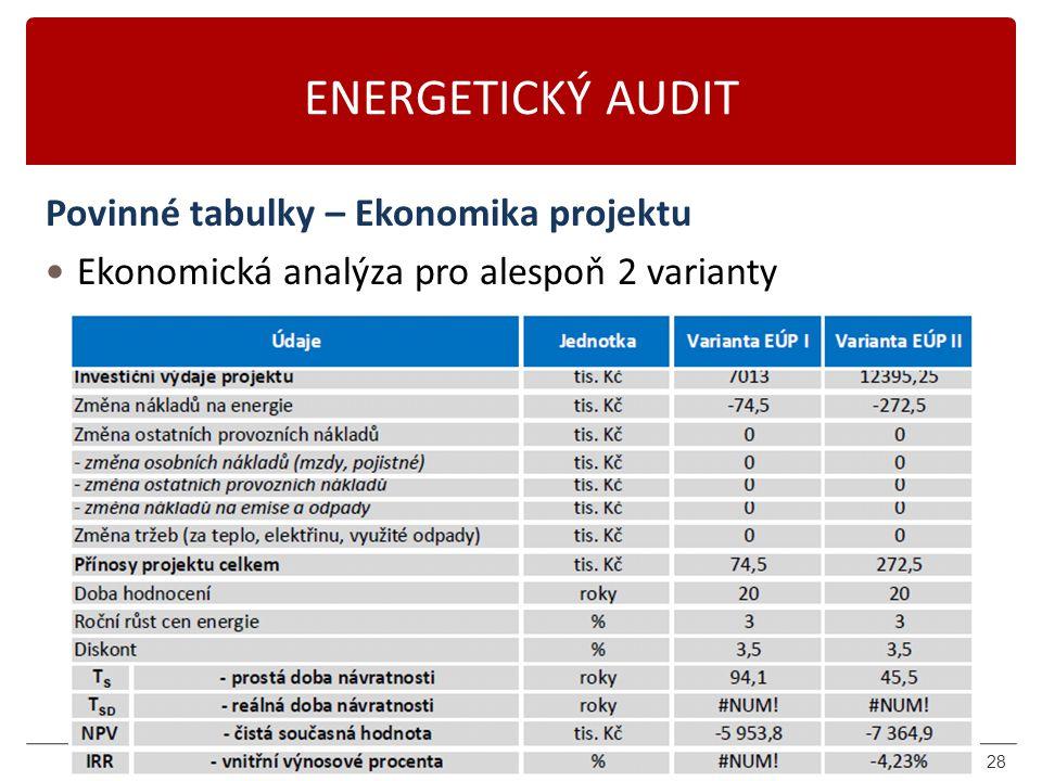 Karásek 2014 ENERGETICKÝ AUDIT Povinné tabulky – Ekonomika projektu Ekonomická analýza pro alespoň 2 varianty 28