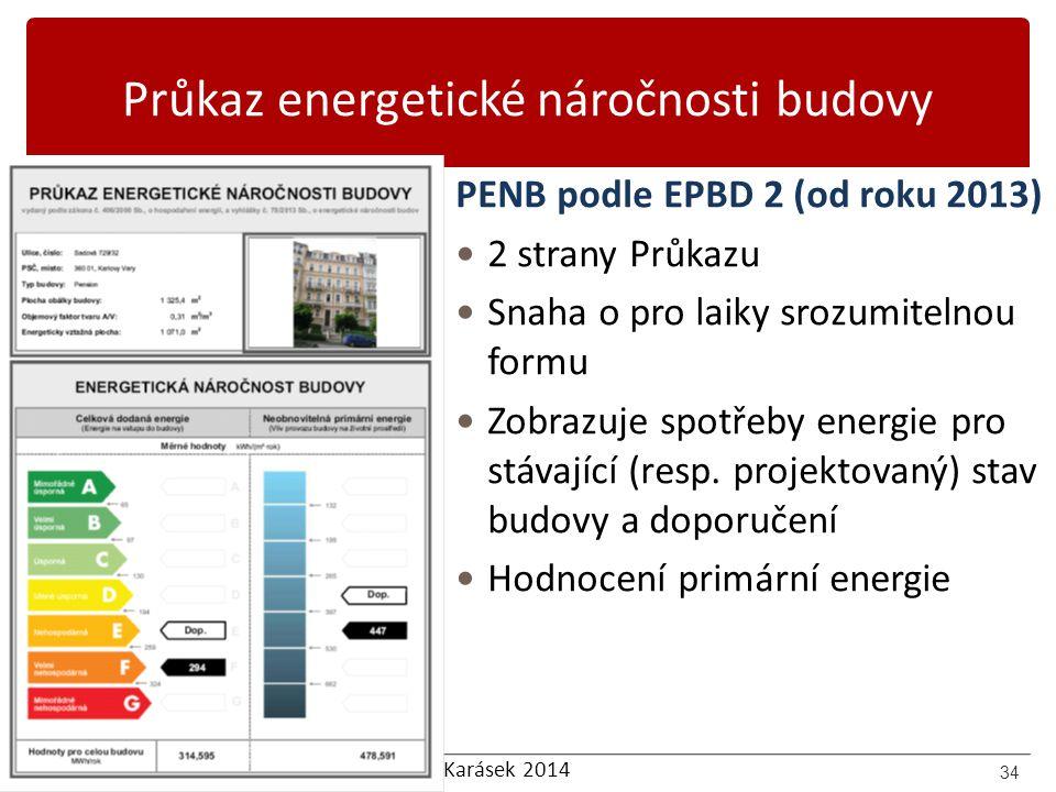 Karásek 2014 Průkaz energetické náročnosti budovy PENB podle EPBD 2 (od roku 2013) 2 strany Průkazu Snaha o pro laiky srozumitelnou formu Zobrazuje sp