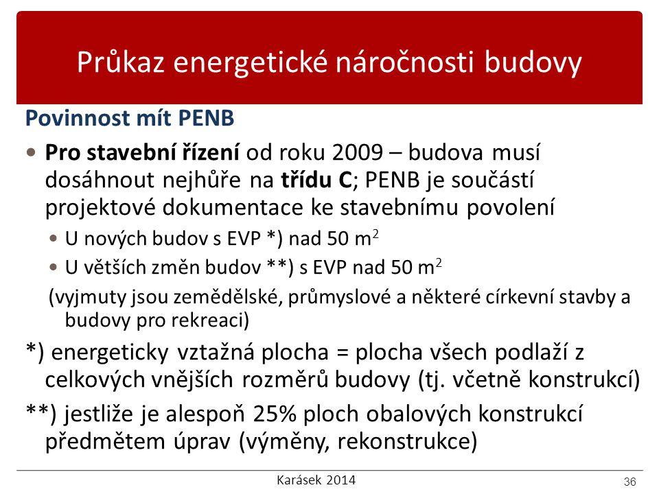 Karásek 2014 Průkaz energetické náročnosti budovy Povinnost mít PENB Pro stavební řízení od roku 2009 – budova musí dosáhnout nejhůře na třídu C; PENB