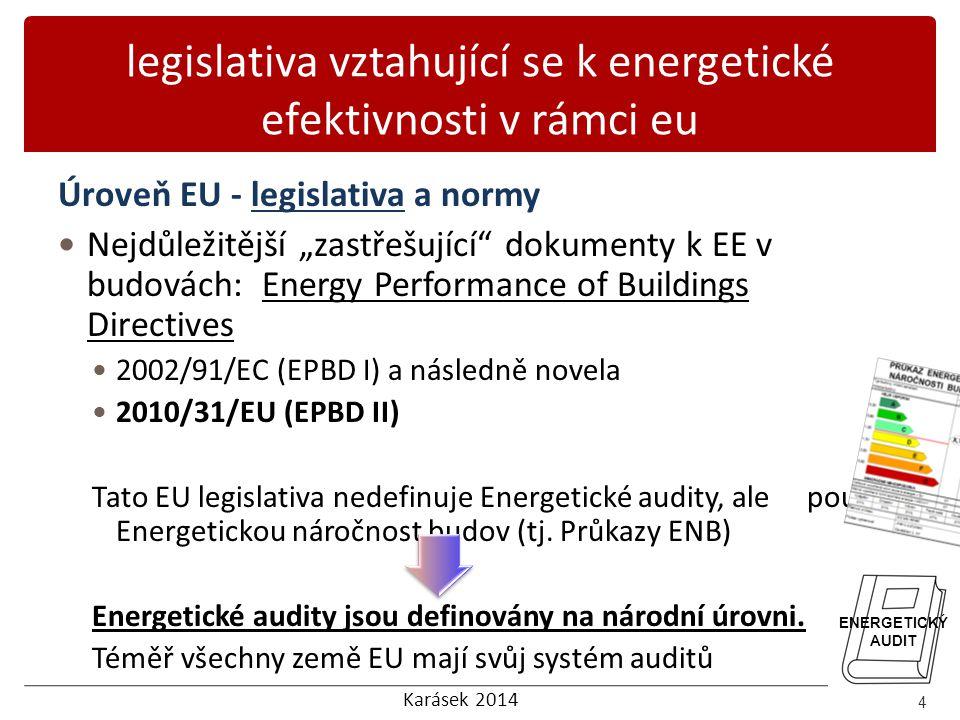 Karásek 2014 legislativa vztahující se k energetické efektivnosti v rámci eu Úroveň EU - legislativa a normy Energy Performance of Buildings Directive 2010/31/EU (EPBD 2 ) - hlavní důvody pro vytvoření této novely a rozšíření oproti EPBD I: Vyjasnit a zjednodušit dosavadní definice; Rozšířit působnost Směrnice; Zvýšení požadavků Směrnice tak, aby byl zvýšen její dopad; Zavádí pojem budovy s téměř nulovou spotřebou energie; Definuje požadavky na tzv.