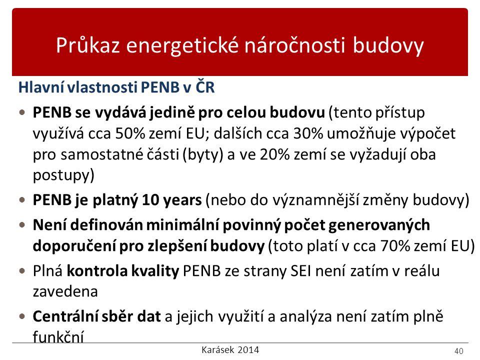 Karásek 2014 Průkaz energetické náročnosti budovy Hlavní vlastnosti PENB v ČR PENB se vydává jedině pro celou budovu (tento přístup využívá cca 50% ze