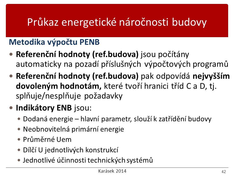 Karásek 2014 Průkaz energetické náročnosti budovy Metodika výpočtu PENB Referenční hodnoty (ref.budova) jsou počítány automaticky na pozadí příslušnýc