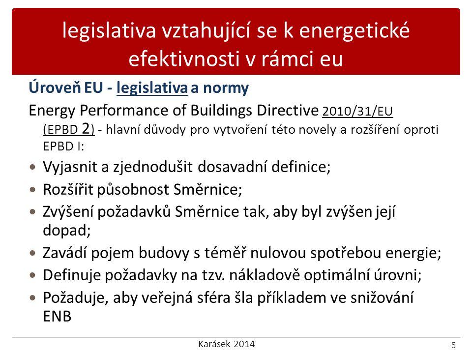 Karásek 2014 legislativa vztahující se k energetické efektivnosti v rámci eu Úroveň EU - legislativa a normy Energy Performance of Buildings Directive
