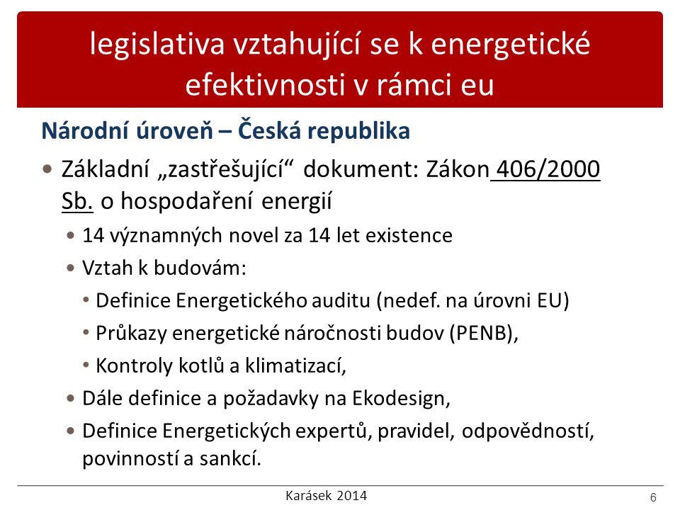 Karásek 2014 obsah LEGISLATIVA VZTAHUJÍCÍ SE K ENERGETICKÉ EFEKTIVNOSTI V RÁMCI EU NÁRODNÍ LEGISLATIVA KE SNIŽOVÁNÍ ENERGETICKÉ NÁROČNOSTI A ENERGETICKÉMU AUDITU ZÁKLADNÍ SROVNÁNÍ ENERGETICKÝCH AUDITŮ A PRŮKAZŮ BUDOV ENERGETICKÝ AUDIT PRŮKAZ ENERGETICKÉ NÁROČNOSTI BUDOVY 7