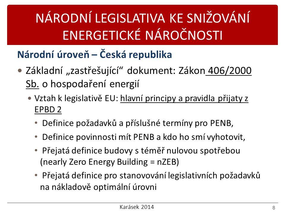 """Karásek 2014 NÁRODNÍ LEGISLATIVA KE SNIŽOVÁNÍ ENERGETICKÉ NÁROČNOSTI Národní úroveň – Česká republika Základní """"zastřešující"""" dokument: Zákon 406/2000"""