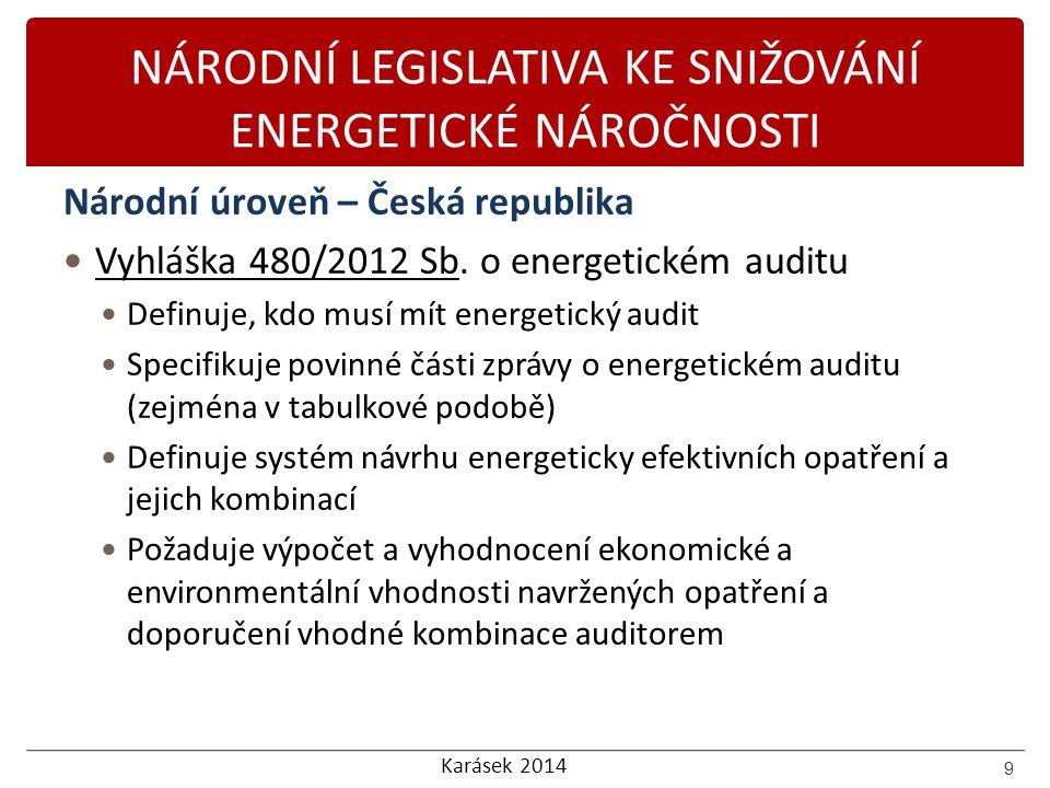 Karásek 2014 NÁRODNÍ LEGISLATIVA KE SNIŽOVÁNÍ ENERGETICKÉ NÁROČNOSTI Národní úroveň – Česká republika Vyhláška 480/2012 Sb. o energetickém auditu Defi