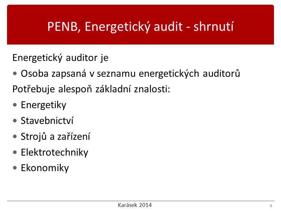 Karásek 2014 5 Energetický auditor Spolupracuje během celého životního cyklu staveb (jako konzultant, tvůrce energetické auditu) Spolupracuje s energetickým manažerem Dodává podklady projektantům Poskytuje informační servis 5 PENB, Energetický audit - shrnutí