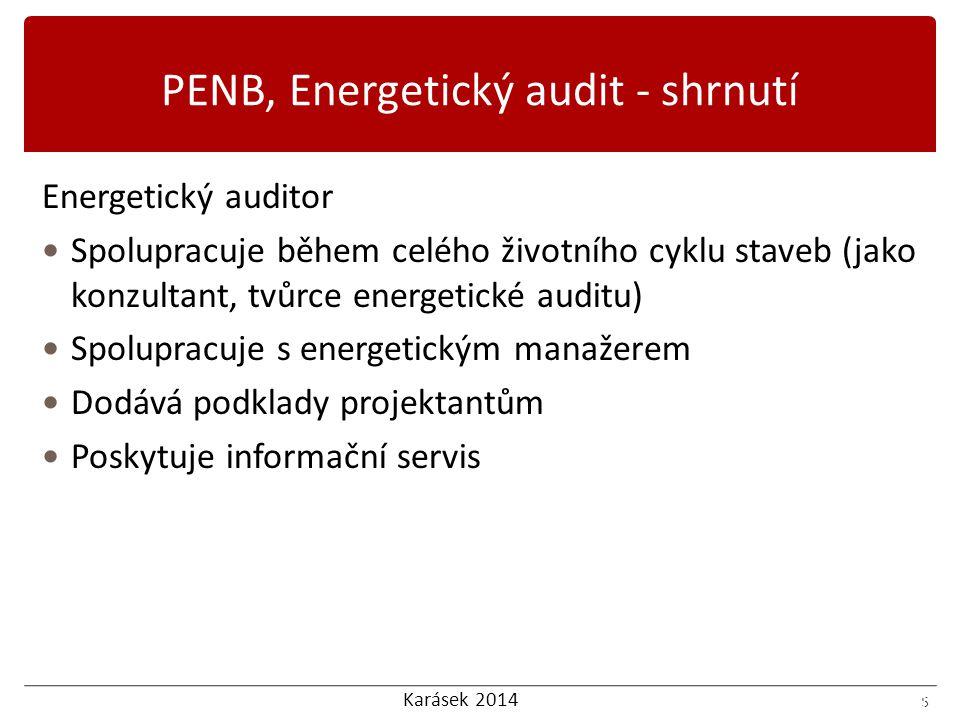 Karásek 2014 6 Nedostatky energetických auditů: Formální Omyly Odlišnost použitých metodik Použité zdroje dat Odstraňování nedostatků auditů Spolupráce s auditorem Kontrola auditu 6 PENB, Energetický audit - shrnutí
