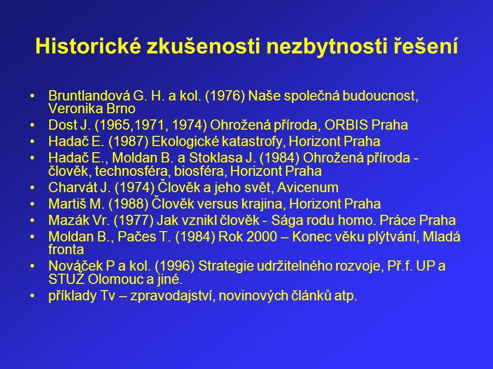 Historické zkušenosti nezbytnosti řešení Bruntlandová G. H. a kol. (1976) Naše společná budoucnost, Veronika Brno Dost J. (1965,1971, 1974) Ohrožená p