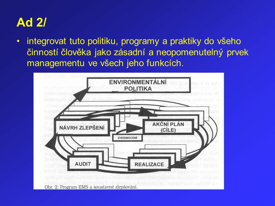 Ad 2/ integrovat tuto politiku, programy a praktiky do všeho činností člověka jako zásadní a neopomenutelný prvek managementu ve všech jeho funkcích.
