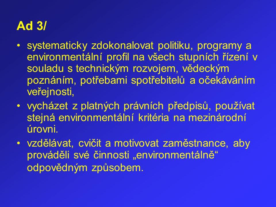 Ad 3/ systematicky zdokonalovat politiku, programy a environmentální profil na všech stupních řízení v souladu s technickým rozvojem, vědeckým poznání