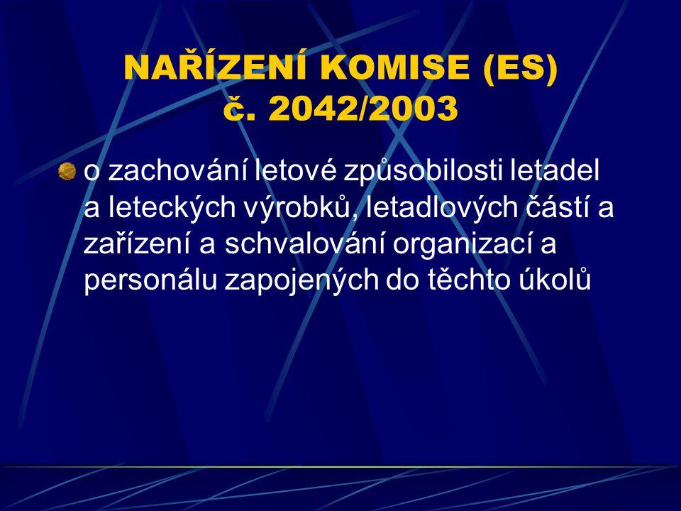NAŘÍZENÍ KOMISE (ES) č. 2042/2003 o zachování letové způsobilosti letadel a leteckých výrobků, letadlových částí a zařízení a schvalování organizací a