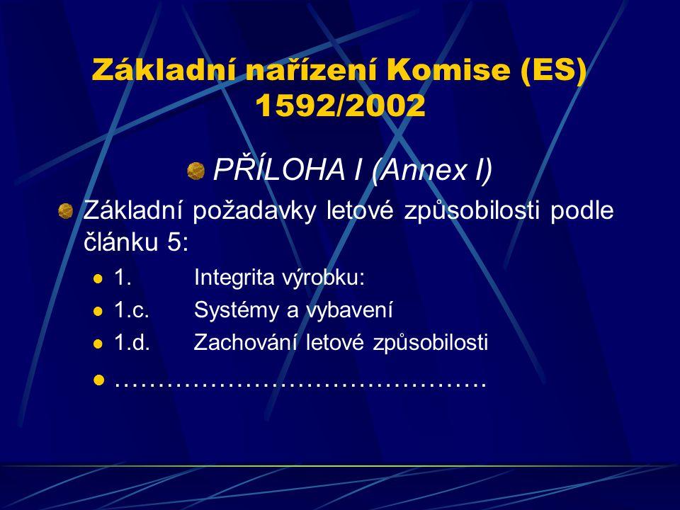 Základní nařízení Komise (ES) 1592/2002 PŘÍLOHA I (Annex I) Základní požadavky letové způsobilosti podle článku 5: 1.Integrita výrobku: 1.c.Systémy a