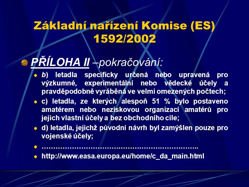 Základní nařízení Komise (ES) 1592/2002 PŘÍLOHA II –pokračování: b) letadla specificky určená nebo upravená pro výzkumné, experimentální nebo vědecké