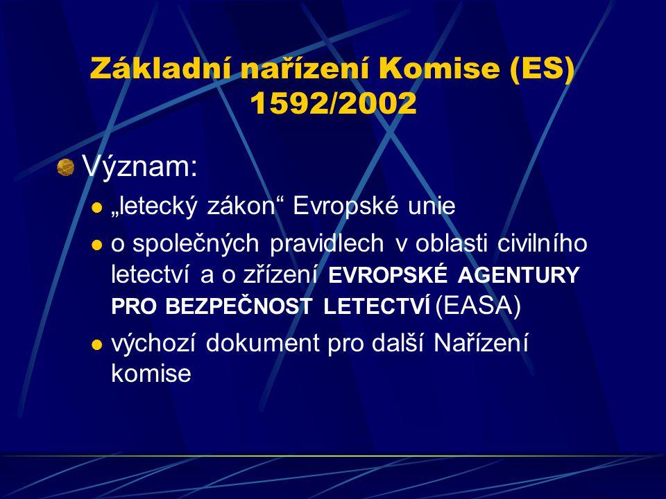 """Základní nařízení Komise (ES) 1592/2002 Význam: """"letecký zákon"""" Evropské unie o společných pravidlech v oblasti civilního letectví a o zřízení EVROPSK"""