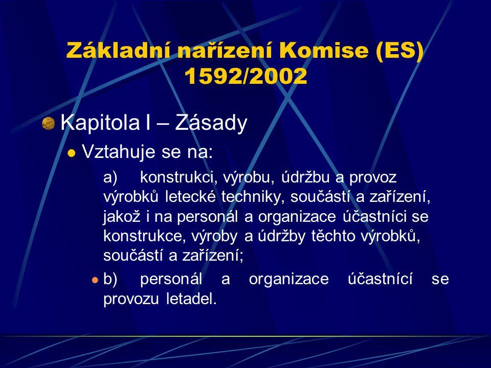 Základní nařízení Komise (ES) 1592/2002 Kapitola I – Zásady Vztahuje se na: a)konstrukci, výrobu, údržbu a provoz výrobků letecké techniky, součástí a