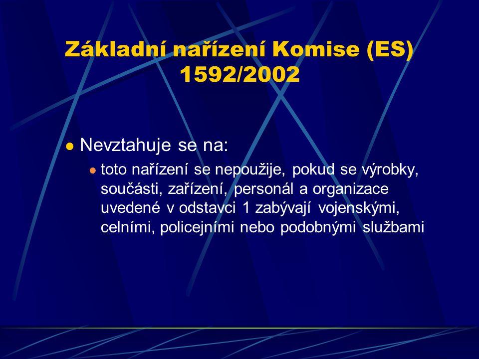 Základní nařízení Komise (ES) 1592/2002 Nevztahuje se na: toto nařízení se nepoužije, pokud se výrobky, součásti, zařízení, personál a organizace uved