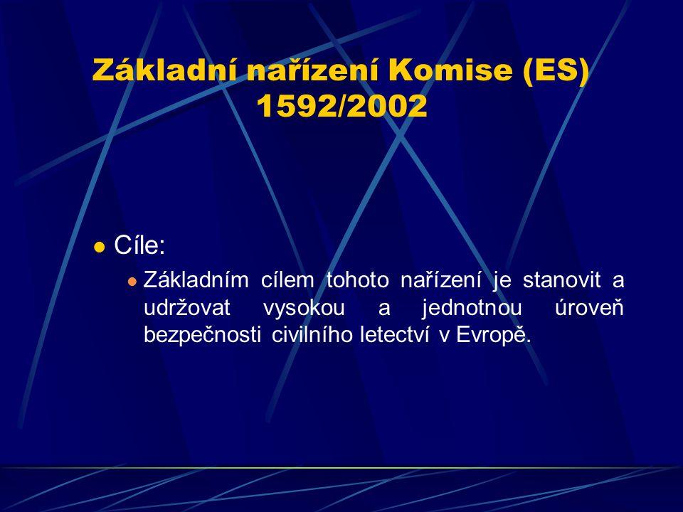 Základní nařízení Komise (ES) 1592/2002 Cíle: Základním cílem tohoto nařízení je stanovit a udržovat vysokou a jednotnou úroveň bezpečnosti civilního
