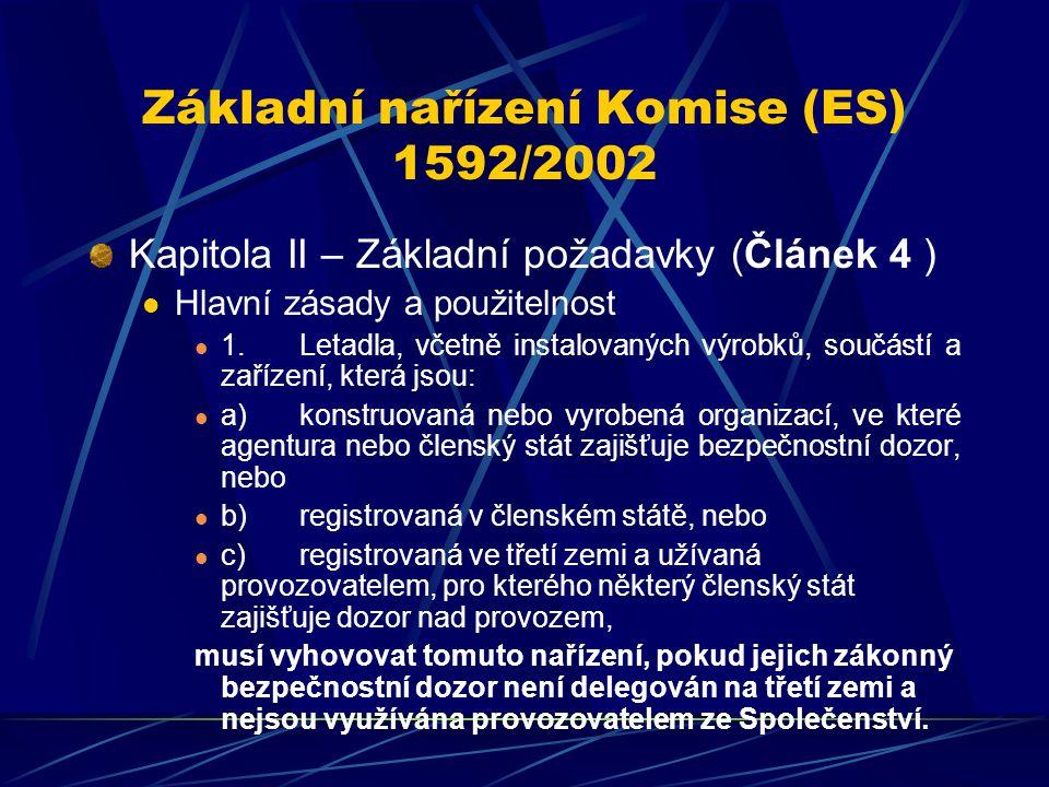 Základní nařízení Komise (ES) 1592/2002 Kapitola II – Základní požadavky (Článek 4 ) Hlavní zásady a použitelnost 1.Letadla, včetně instalovaných výro
