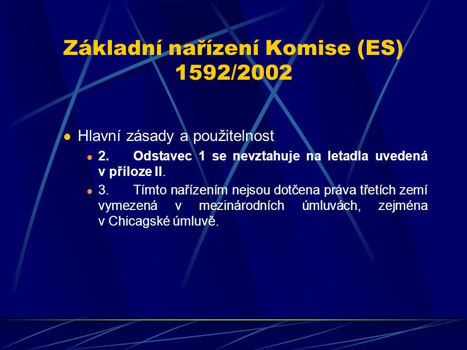 Základní nařízení Komise (ES) 1592/2002 Hlavní zásady a použitelnost 2.Odstavec 1 se nevztahuje na letadla uvedená v příloze II. 3.Tímto nařízením nej