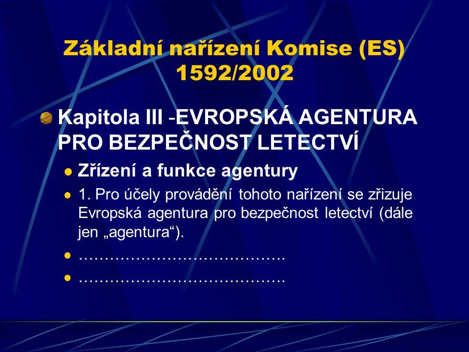 Základní nařízení Komise (ES) 1592/2002 Kapitola III -EVROPSKÁ AGENTURA PRO BEZPEČNOST LETECTVÍ Zřízení a funkce agentury 1. Pro účely provádění tohot
