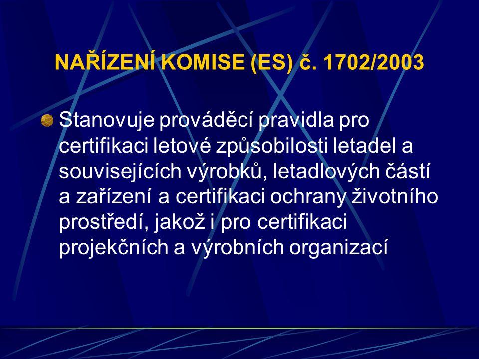 NAŘÍZENÍ KOMISE (ES) č. 1702/2003 Stanovuje prováděcí pravidla pro certifikaci letové způsobilosti letadel a souvisejících výrobků, letadlových částí