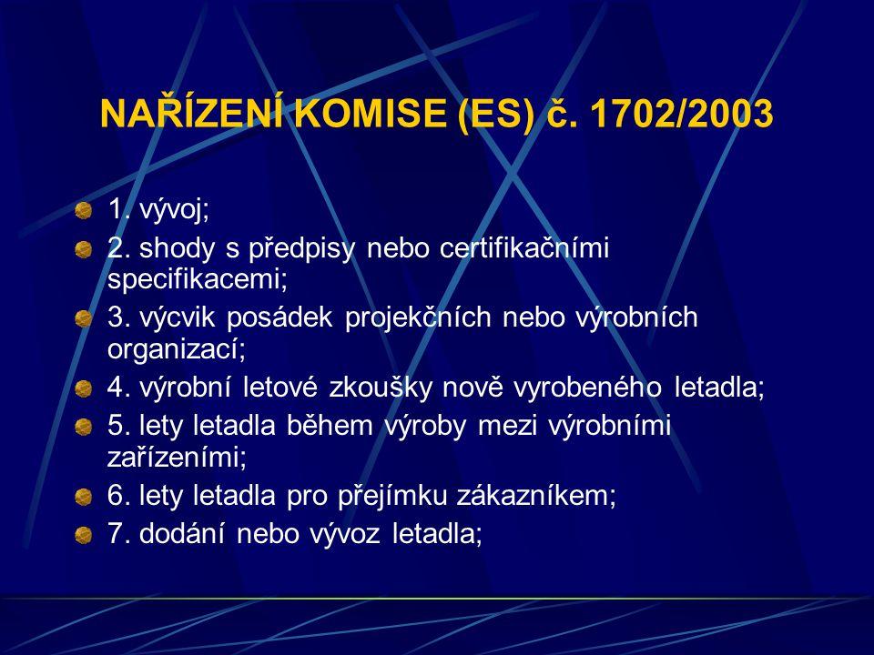 NAŘÍZENÍ KOMISE (ES) č. 1702/2003 1. vývoj; 2. shody s předpisy nebo certifikačními specifikacemi; 3. výcvik posádek projekčních nebo výrobních organi