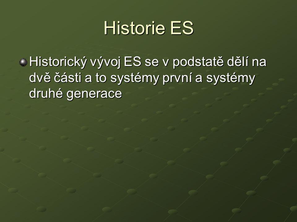 Historie ES Historický vývoj ES se v podstatě dělí na dvě části a to systémy první a systémy druhé generace