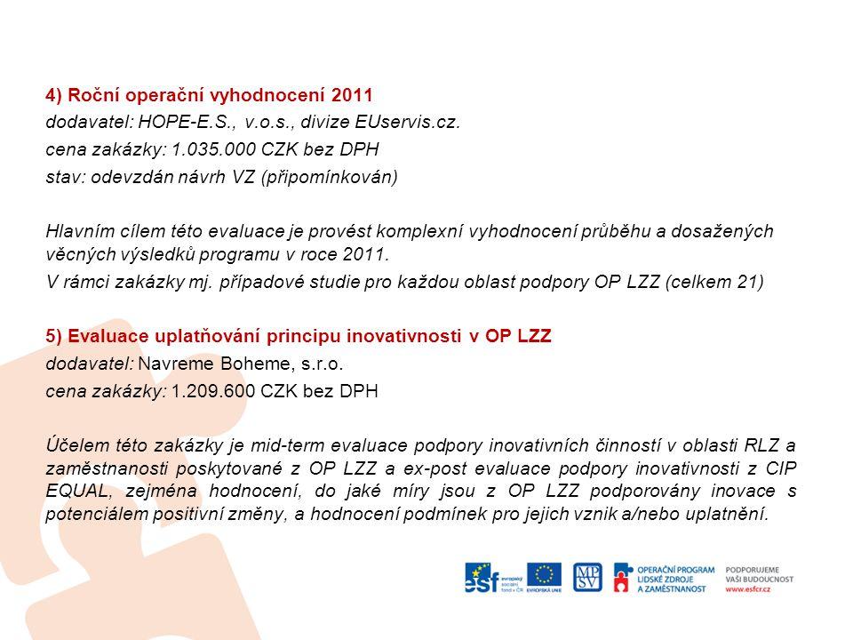 4) Roční operační vyhodnocení 2011 dodavatel: HOPE-E.S., v.o.s., divize EUservis.cz.