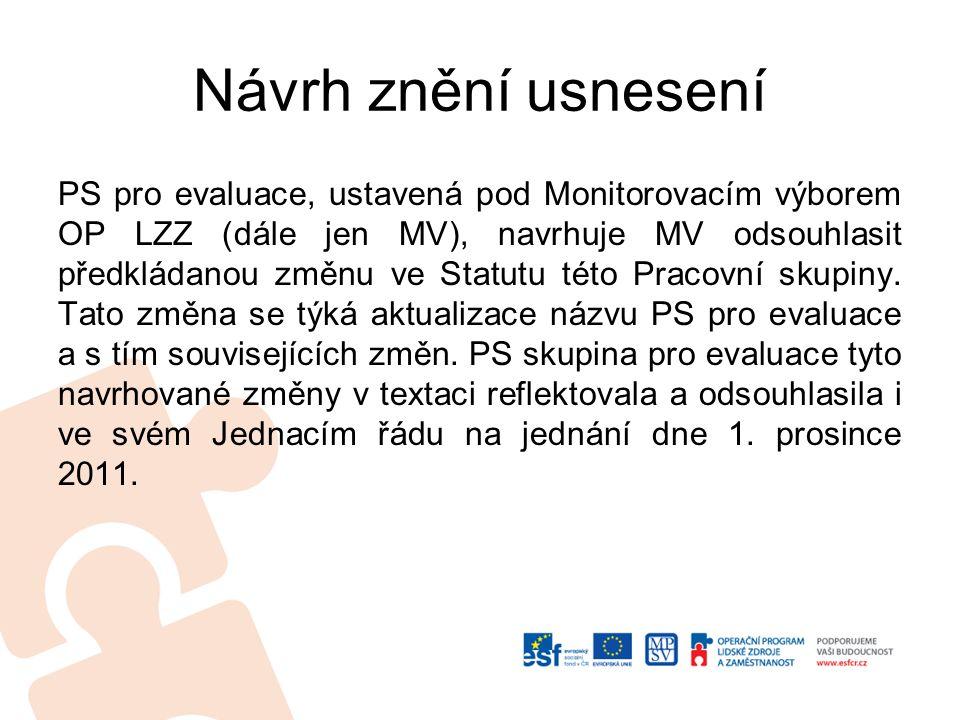 Návrh znění usnesení PS pro evaluace, ustavená pod Monitorovacím výborem OP LZZ (dále jen MV), navrhuje MV odsouhlasit předkládanou změnu ve Statutu této Pracovní skupiny.