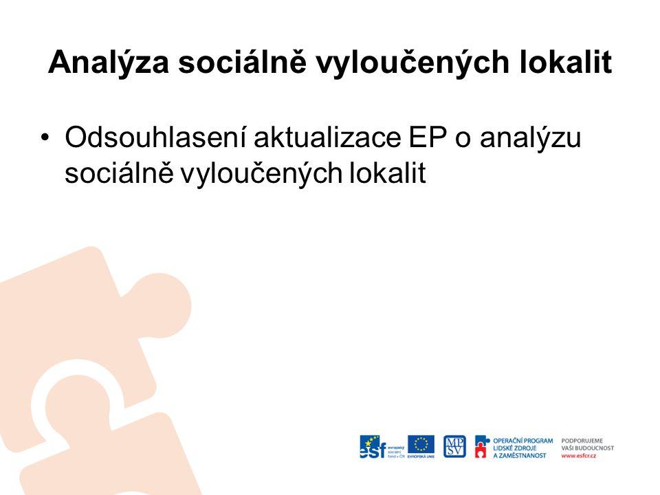 Analýza sociálně vyloučených lokalit Odsouhlasení aktualizace EP o analýzu sociálně vyloučených lokalit