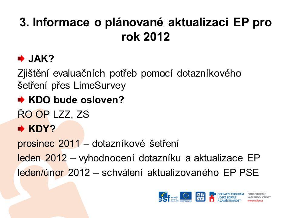 3. Informace o plánované aktualizaci EP pro rok 2012 JAK.