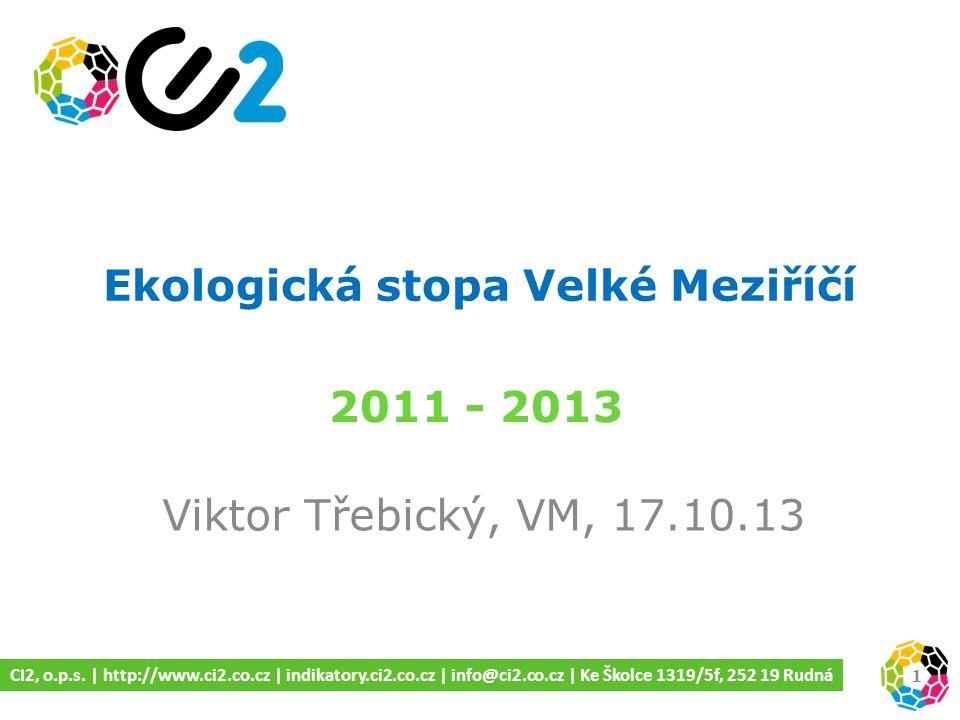 Ekologická stopa Velké Meziříčí Viktor Třebický, VM, 17.10.13 2011 - 2013 1 CI2, o.p.s.