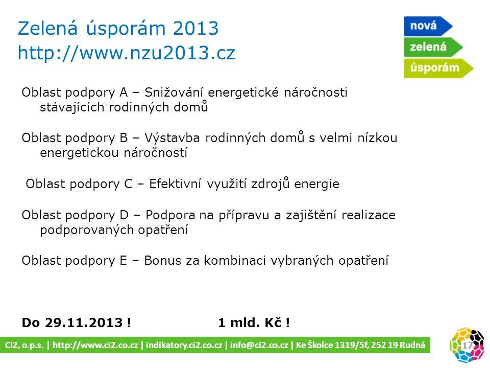 Zelená úsporám 2013 http://www.nzu2013.cz 17 CI2, o.p.s.