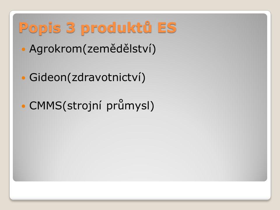 Popis 3 produktů ES Agrokrom(zemědělství) Gideon(zdravotnictví) CMMS(strojní průmysl)