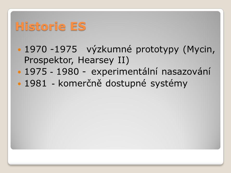 Historie ES 1970 -1975 výzkumné prototypy (Mycin, Prospektor, Hearsey II) 1975 - 1980 - experimentální nasazování 1981 - komerčně dostupné systémy