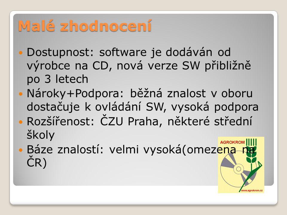 Malé zhodnocení Dostupnost: software je dodáván od výrobce na CD, nová verze SW přibližně po 3 letech Nároky+Podpora: běžná znalost v oboru dostačuje k ovládání SW, vysoká podpora Rozšířenost: ČZU Praha, některé střední školy Báze znalostí: velmi vysoká(omezena na ČR)
