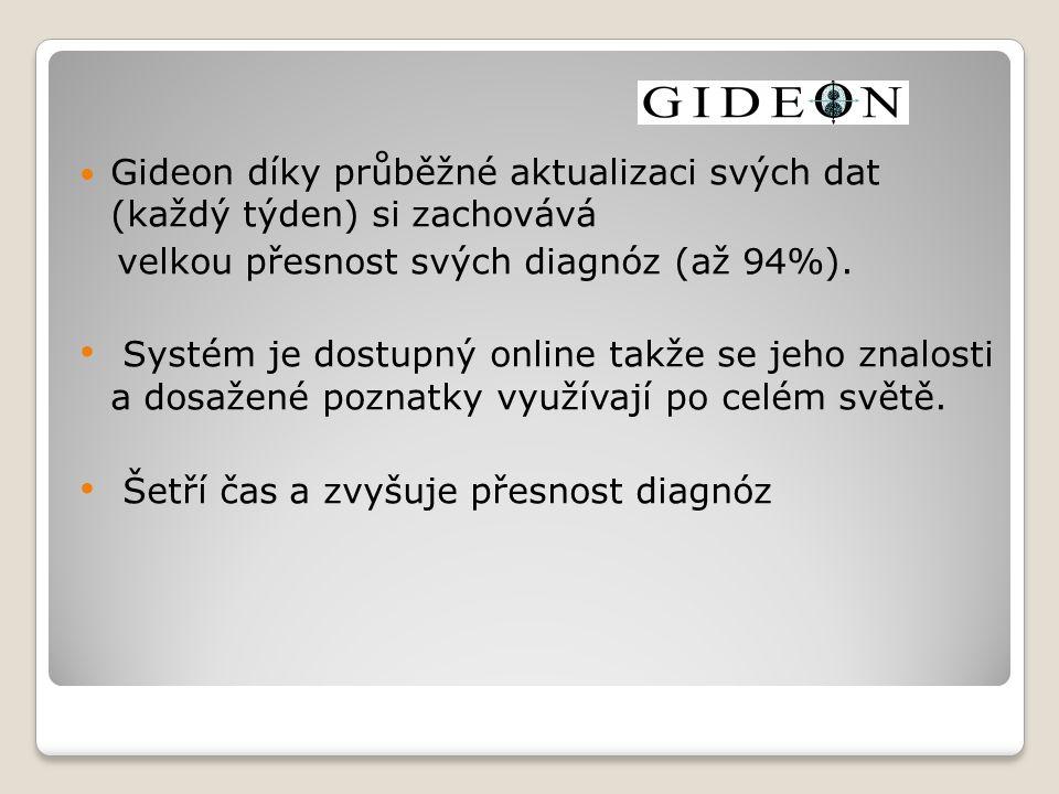Gideon díky průběžné aktualizaci svých dat (každý týden) si zachovává velkou přesnost svých diagnóz (až 94%).