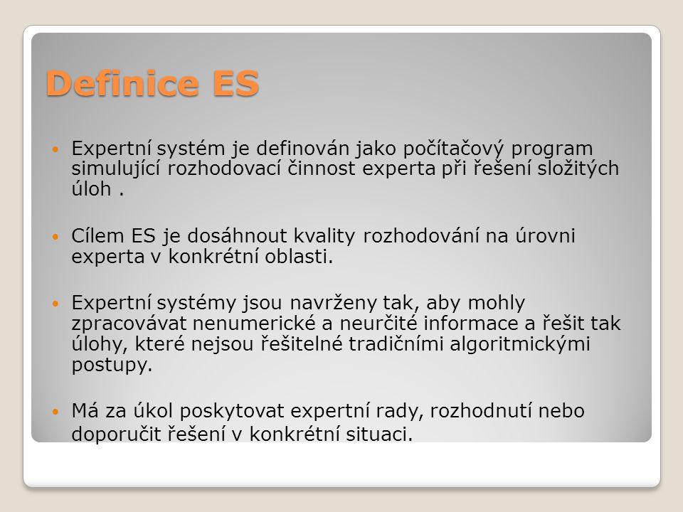 Definice ES Expertní systém je definován jako počítačový program simulující rozhodovací činnost experta při řešení složitých úloh. Cílem ES je dosáhno