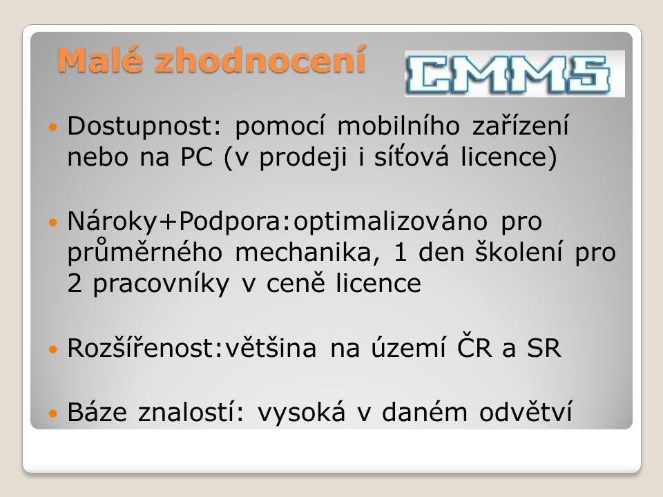 Dostupnost: pomocí mobilního zařízení nebo na PC (v prodeji i síťová licence) Nároky+Podpora:optimalizováno pro průměrného mechanika, 1 den školení pr