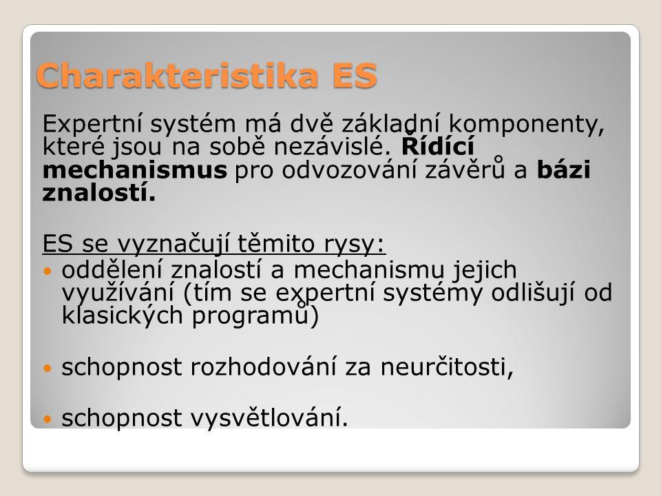 Charakteristika ES Expertní systém má dvě základní komponenty, které jsou na sobě nezávislé. Řídící mechanismus pro odvozování závěrů a bázi znalostí.