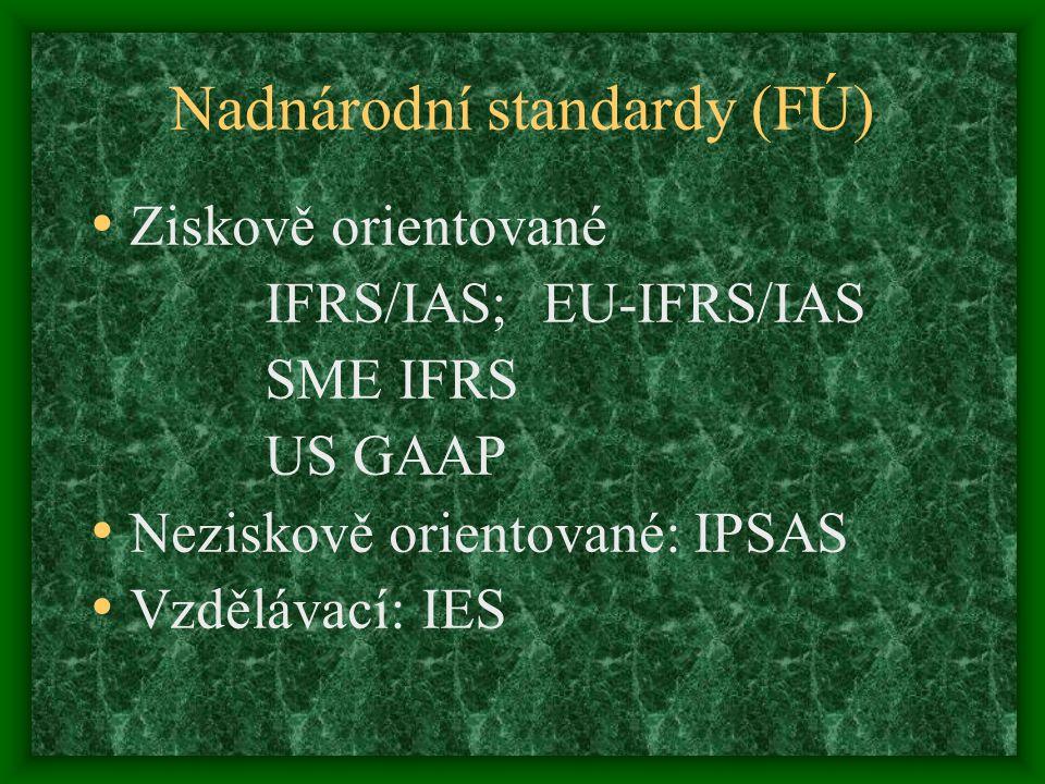 Nadnárodní standardy (FÚ) Ziskově orientované IFRS/IAS; EU-IFRS/IAS SME IFRS US GAAP Neziskově orientované: IPSAS Vzdělávací: IES