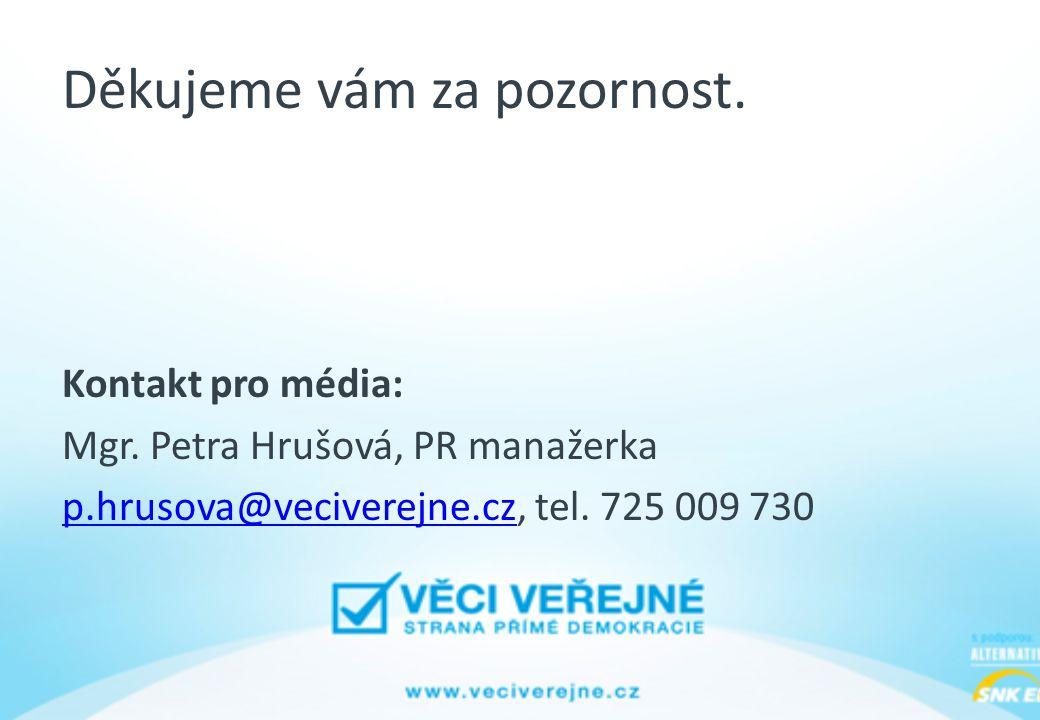 Děkujeme vám za pozornost. Kontakt pro média: Mgr. Petra Hrušová, PR manažerka p.hrusova@veciverejne.czp.hrusova@veciverejne.cz, tel. 725 009 730
