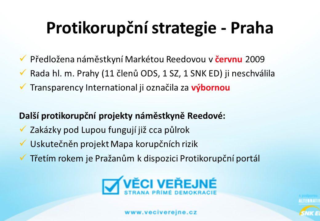 Protikorupční strategie - Praha Předložena náměstkyní Markétou Reedovou v červnu 2009 Rada hl. m. Prahy (11 členů ODS, 1 SZ, 1 SNK ED) ji neschválila