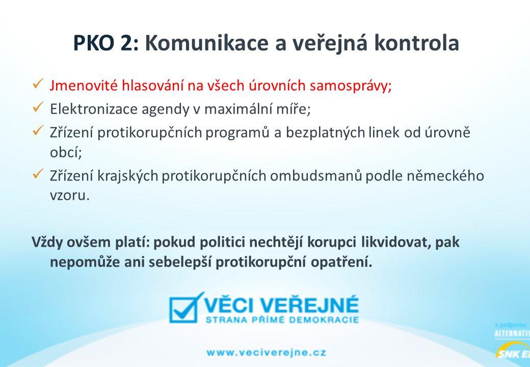 PKO 2: Komunikace a veřejná kontrola Jmenovité hlasování na všech úrovních samosprávy; Elektronizace agendy v maximální míře; Zřízení protikorupčních