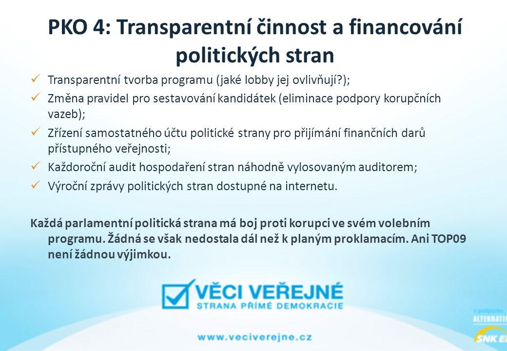 PKO 4: Transparentní činnost a financování politických stran Transparentní tvorba programu (jaké lobby jej ovlivňují?); Změna pravidel pro sestavování