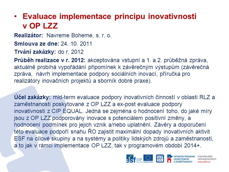 Evaluace implementace principu inovativnosti v OP LZZ Realizátor: Navreme Boheme, s. r. o. Smlouva ze dne: 24. 10. 2011 Trvání zakázky: do r. 2012 Prů