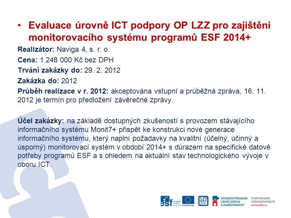 Evaluace úrovně ICT podpory OP LZZ pro zajištění monitorovacího systému programů ESF 2014+ Realizátor: Naviga 4, s. r. o. Cena: 1 248 000 Kč bez DPH T