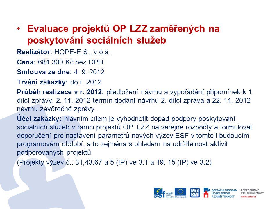 Evaluace projektů OP LZZ zaměřených na poskytování sociálních služeb Realizátor: HOPE-E.S., v.o.s. Cena: 684 300 Kč bez DPH Smlouva ze dne: 4. 9. 2012